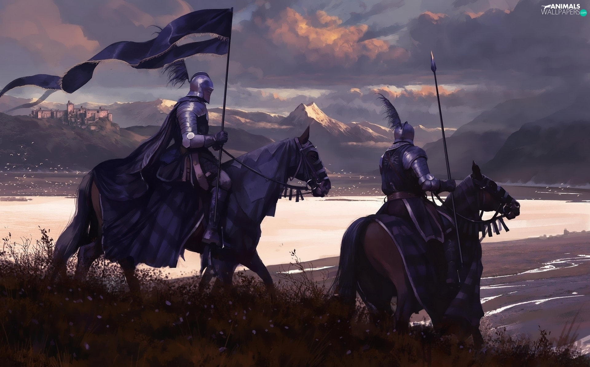 Banner, Mountains, knights, bloodstock, Digital Art