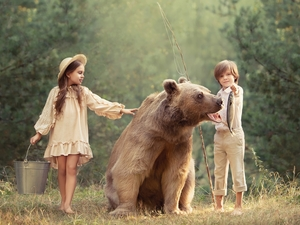 fishing rod, Kids, Hat, boy, Bear, girl, Bucket