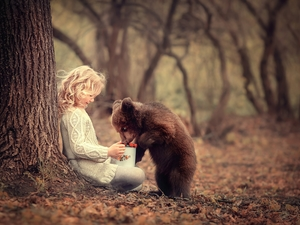 girl, trees, Fruits, little bear, mug, forest
