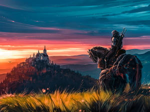 Castle, The Witcher, Horse, rider, graphics