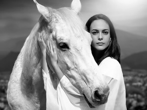 Black and white, Women, Horse
