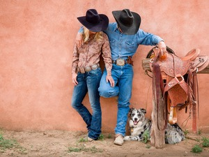 gear, Women, dog, a man, Cowboys, anticline, Australian Shepherd