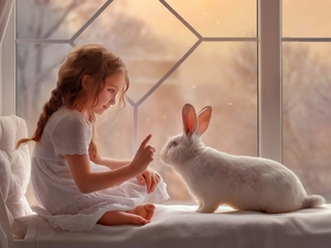 Window, parapet, White, Rabbit, girl