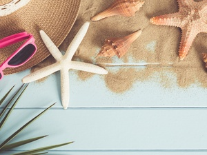 starfish, Glasses, composition, Shells, Hat, Sand, holiday