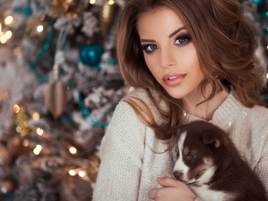 Puppy, Women, christmas tree, christmas, Siberian Husky, doggy