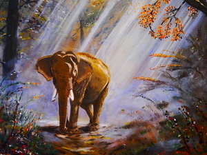 forest, painting, ligh, Way, flash, viewes, trees, Elephant, picture, luminosity, sun