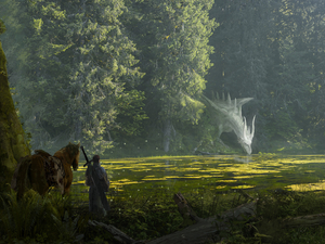 Dragon, trees, fighter, viewes, River, Horse, fantasy