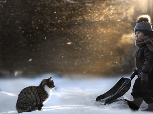 boy, Park, winter, cat
